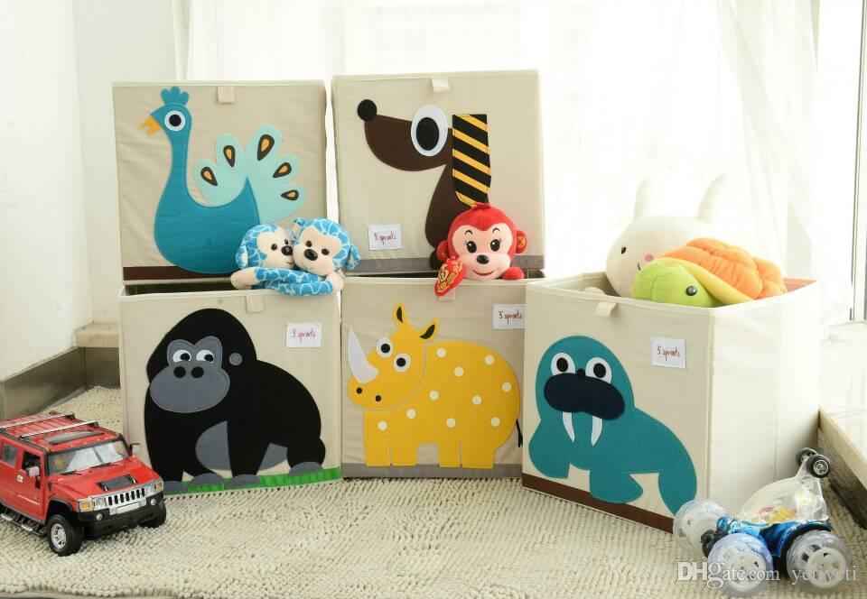 Cute Animal Collapsible Toy Storage Organizer Folding: 2019 Christmas Gift Cartoon Animal Storage Box Toys