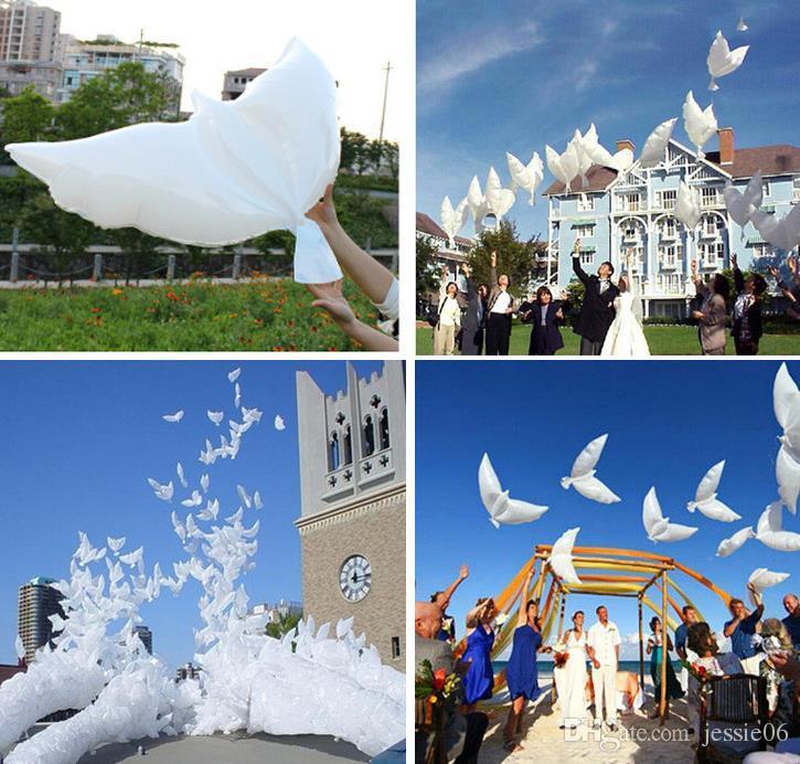 Casamento Branco Pomba Balões de Hélio Festa de Baptizado Funeral Memorial Cerimônia de Aniversário de Entrada do evento Decoração favor Biodegradável