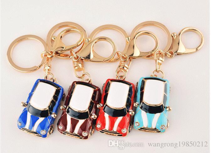 Fashion Diamond Beetle Cartoon Car Keychains Cute Keychains Four
