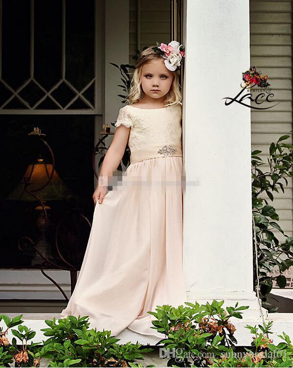 Cheap Flower Girl Dresses for Bohemia Vintage Wedding Jewel Neck with Short Sleeve Beaded Empire Waist 2017 Baby First Holy Communion Dress