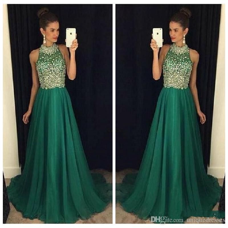 Bling Yeşil Gelinlik Modelleri Uzun 2018 Yüksek Boyun Kristal Boncuklu Örgün Kadınlar Abiye Giyim A-Line Parti Elbise Bling