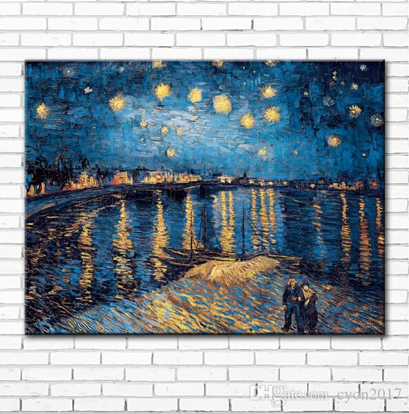 impression Van starry night Rhone river scenery canvas printings oil painting printed on canvas home wall art decoration picture