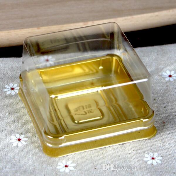 =6.8*6.8*4 cm Mini Size Clear Plastic Cake boxes Muffin Container Food Gift Packaging Wedding Supplies