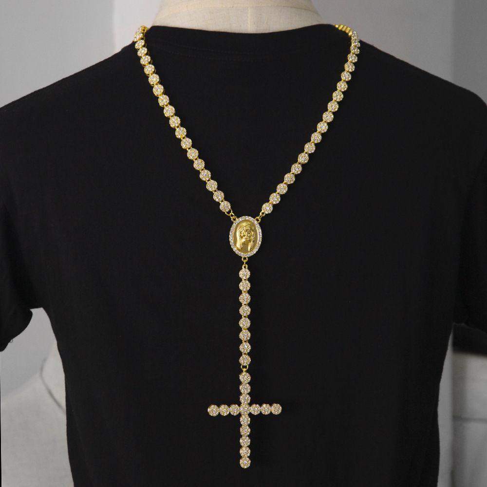 Homens Luxo Longo Colar de Prata de Ouro Completo Congelado Strass Jesus Rosto Com Grande Colar de Pingente de Cruz Do Rosário Do Punk Jóias