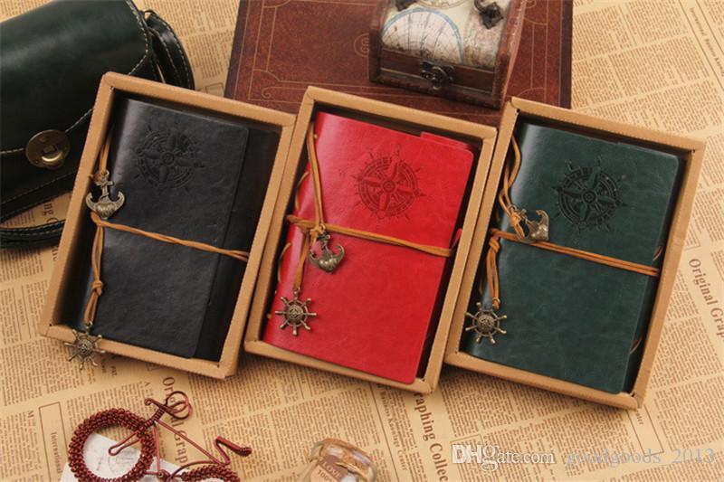 18,5 * 13cm Nuovo caldo Vintage Diario di viaggio Notebook da viaggio Ancora timone Decorazione Notebook retro di medie dimensioni libro diario notepad z093