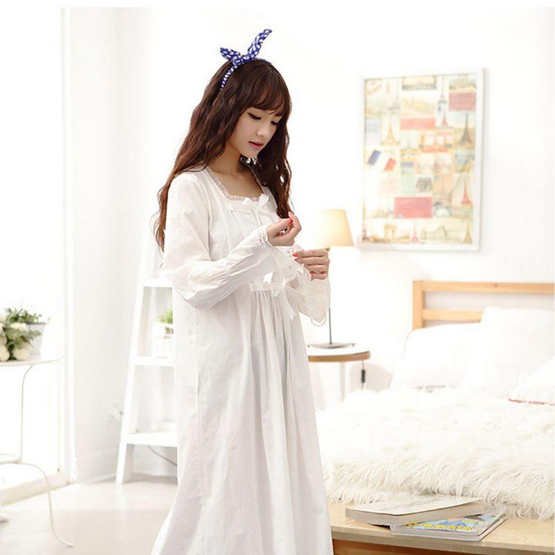 save off 3194c e396e 2016 neue Lange Weiße Nachthemd 100% Baumwolle Nachthemd Prinzessin  Nachthemd Damen Sexy Nachtwäsche Frauen Nachtwäsche Schlafkleid 48