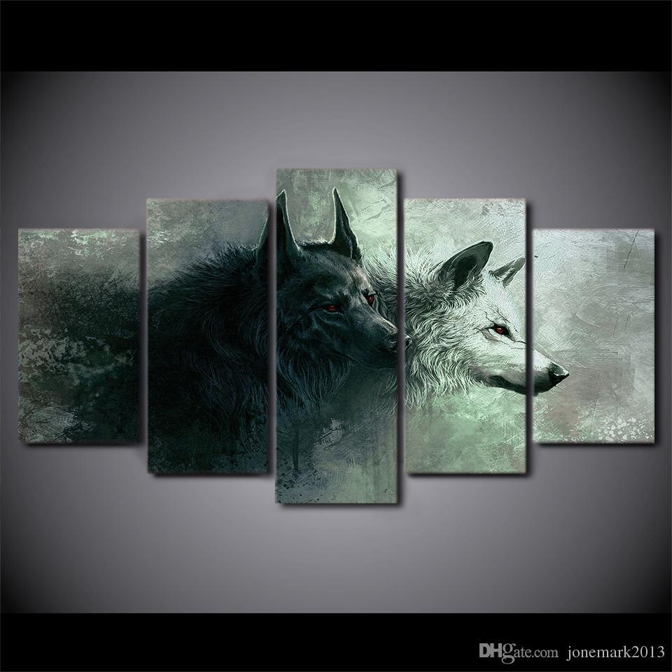 Großhandel 5 Stück Gerahmte Hd Gedruckt Rote Augen Schwarz Weiß Wolf ...