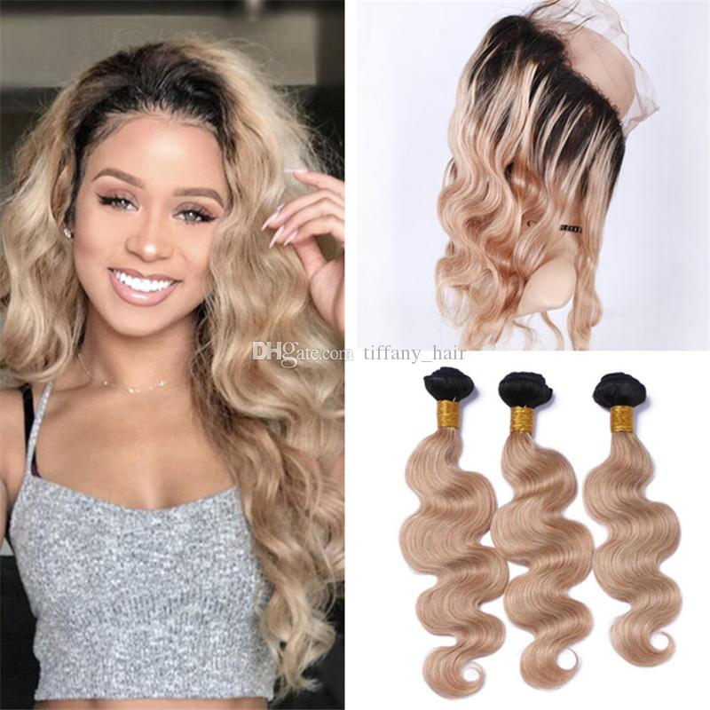 2018 dark roots 1b 27 ombre brazilian body wave human hair weaves 2018 dark roots 1b 27 ombre brazilian body wave human hair weaves with 360 lace frontal closure honey blonde ombre 360 frontal with bundles from pmusecretfo Image collections