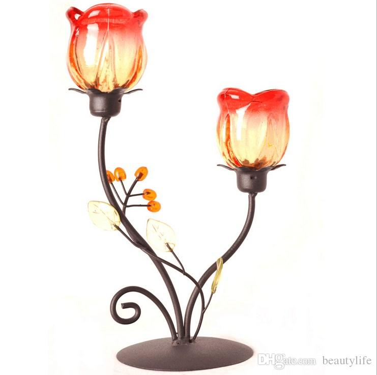 Iron High-grade beautiful rose candlestick two unique candlelight dinner romantic candle bar gift ornaments