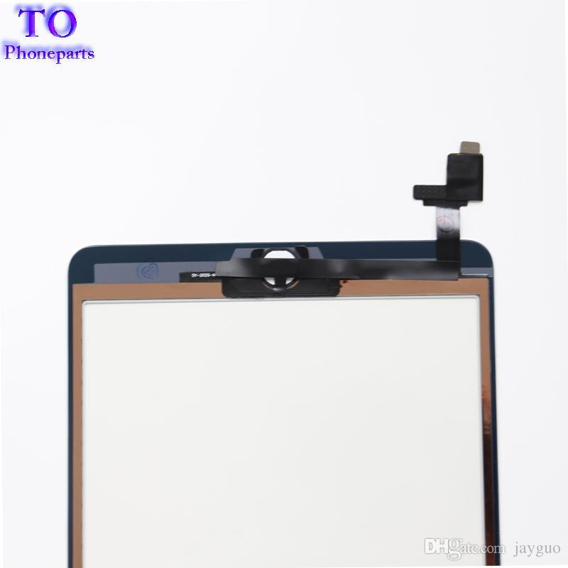 Para iPad mini 1 mini 2 Panel de pantalla táctil Digitalizador Panel de cristal Lente Sensor de reparación + IC + Botón de inicio Flex envío gratis