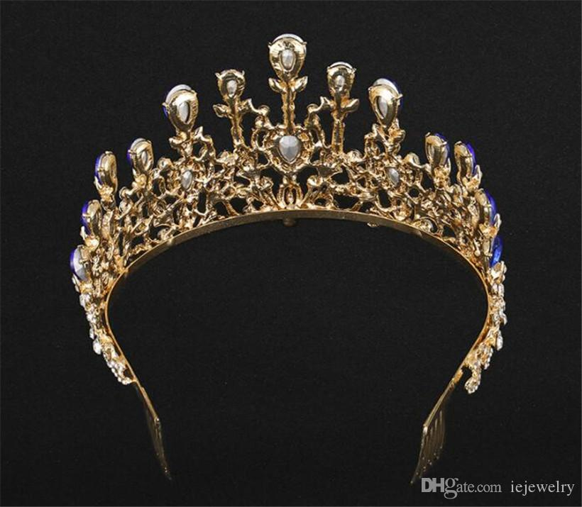 Baroque Vintage Gold Rhinestone Red Blue Crystal Crown With Comb Wedding Hair Accessories Luxury Queen King Crowns Bridal Tiaras Headpiece