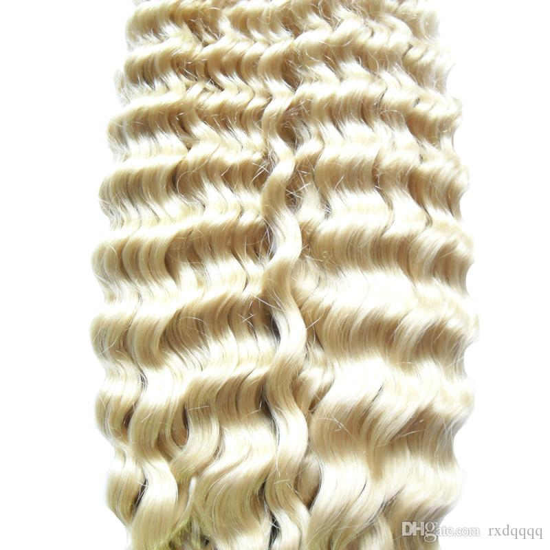 Capelli vergini brasiliani biondi ricci / set Estensioni dei capelli umani di trama di trama di Remy della trama 100g estensioni senza cuciture dei capelli
