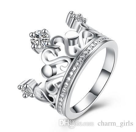 Gratis verzending 925 Silver Plating 10 stks Klassieke Mozaïek Crystal Crown Ring 8 # Hoogwaardige zilveren accessoires LKNSPCR034