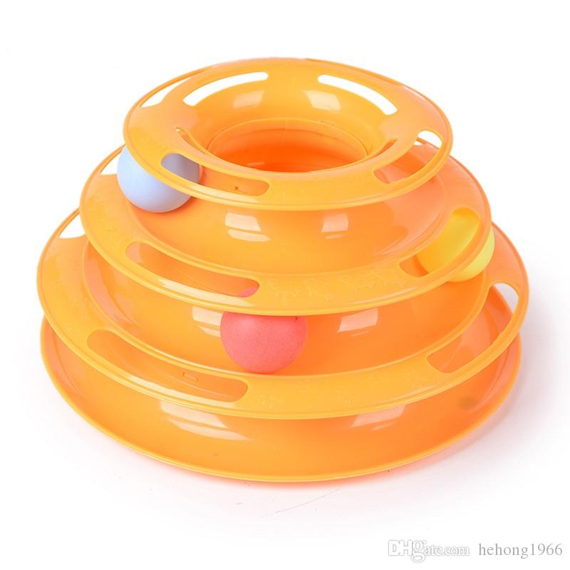 Pet Toy Three Layers Intelligence Play Tray Cat Track Ball Disc Plate Green Orange Cats Toys Puzzle Supplies Funny 15 5dg F R