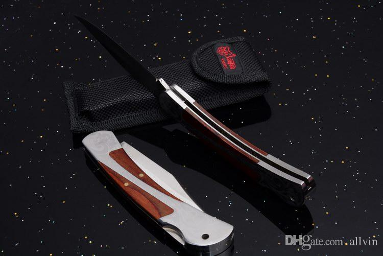 2017 New EDC Pocket Folding Knife 440C Satin Blade Wood Handle EDC Pocket Knives Outdoor Survival Tactital Knife With Nylon bag