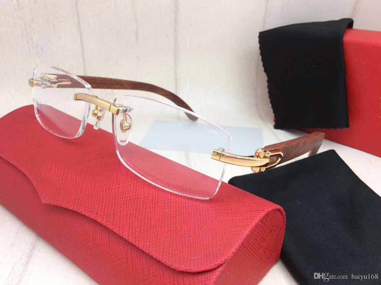 Discount Men Remless Eyeglasses Frames Gold Wood Sunglasses Luxury ...