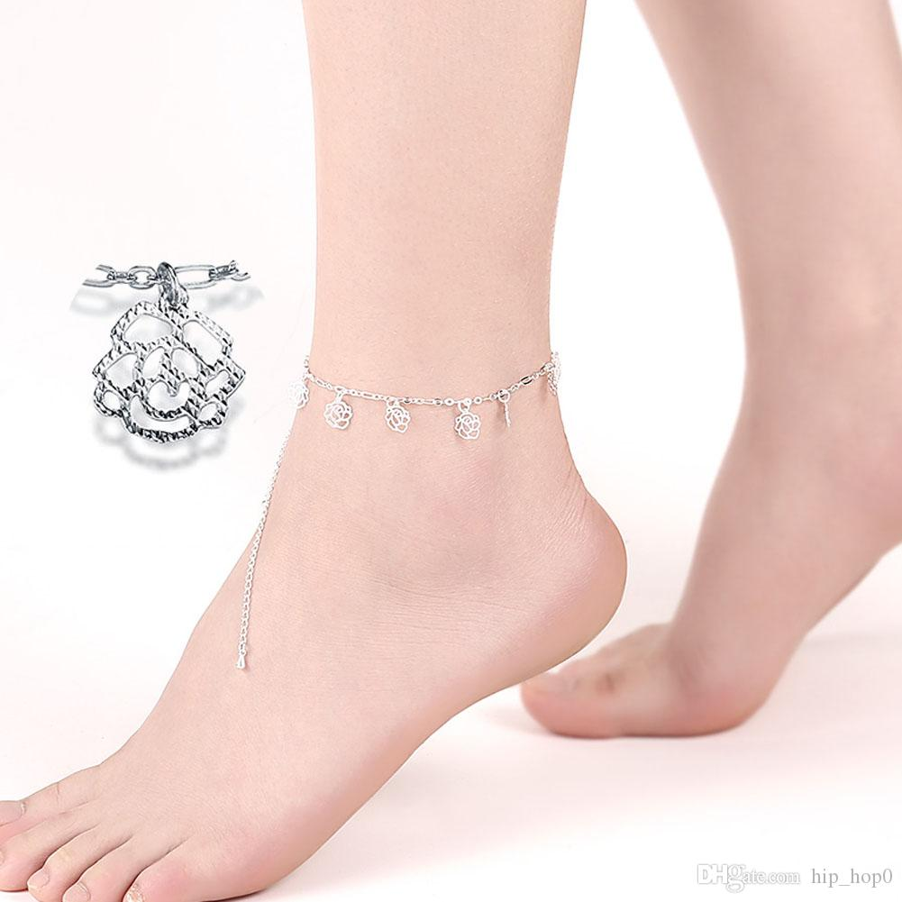 nautical bracelets tone girl pin real platinum ankle silver anklet surfer