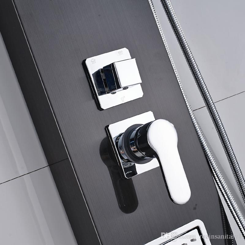 Ducha de pared Panel de ducha de acero inoxidable 5 funciones Cascada de cascada Manija de ducha Chorros de masaje Bañera Caño Ducha de baño Columna Torre