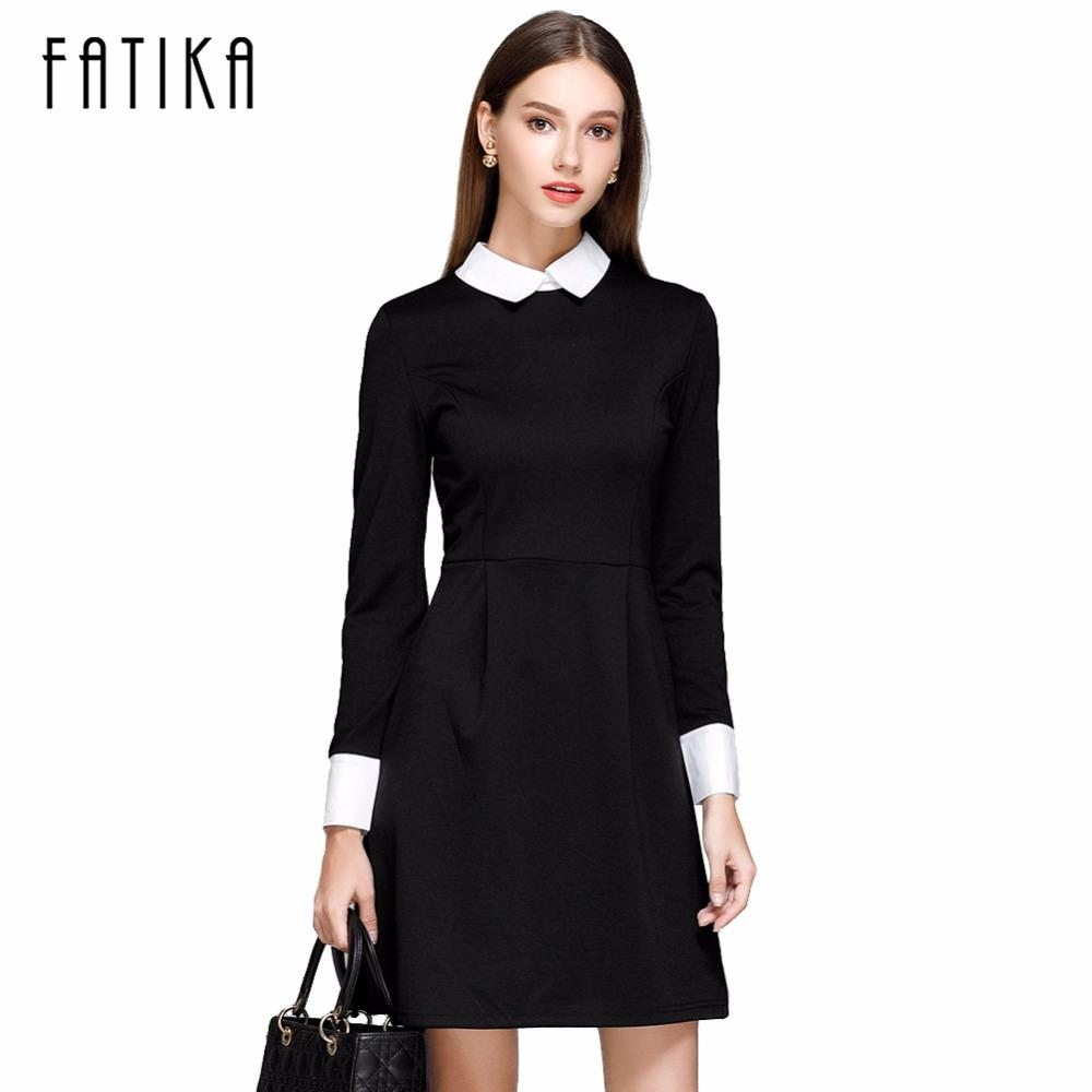 30903ef1803 X201710 FATIKA Fashion Autumn Winter Women s Elegant Casual Dress Slim  Peter Pan Collar Collar Long Sleeve Black Dresses for Women High Quality  Dress for ...