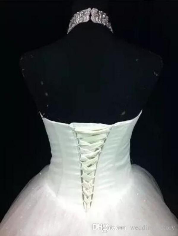Abiti da sposa economici A Line Plus Size Collo alto Halter cristalli Paillettes Tulle Lace up Back Piano Lunghezza Abiti da sposa Custom Made