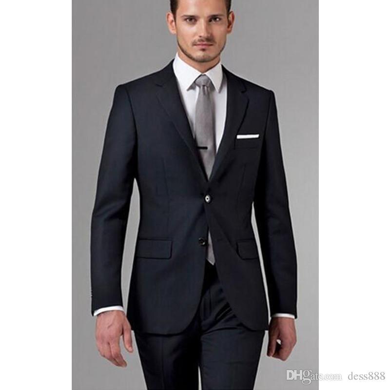 Grosshandel Brautigam Anzuge Hochzeit Mens Black Suit Herren Anzuge