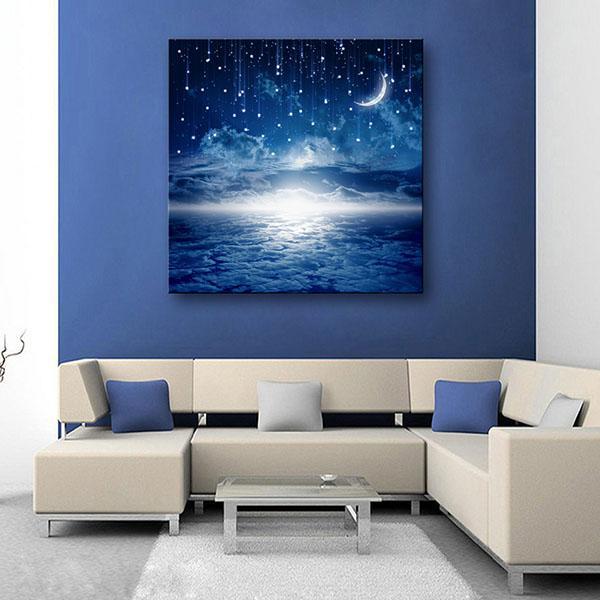 Acquista Led Tela Di Canapa Moon Illuminato Wall Art Decorazione ...