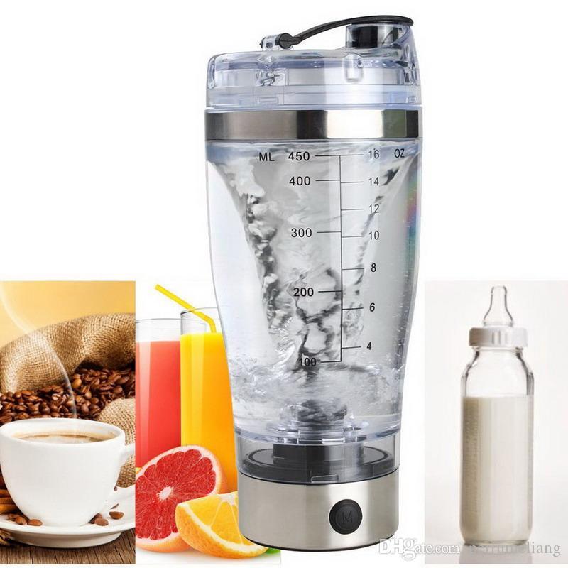 Elektrische eiwit shaker blender waterfles automatische beweging vortex tornado 450 ml BPA vrije afneembare mixerkop