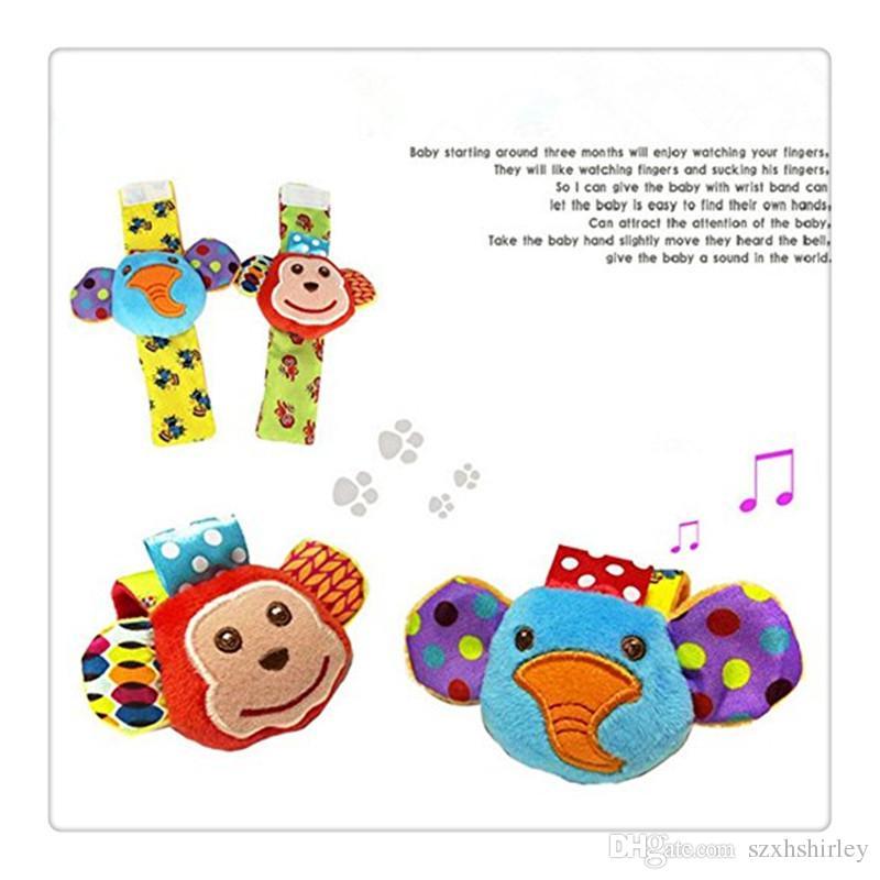 Atacado BestSeller Meias Bebê Animal Chocalhos De Pulso Do Bebê Pé Localizador Set Desenvolvimento Macio Brinquedos Macaco e Elefante Frete Grátis