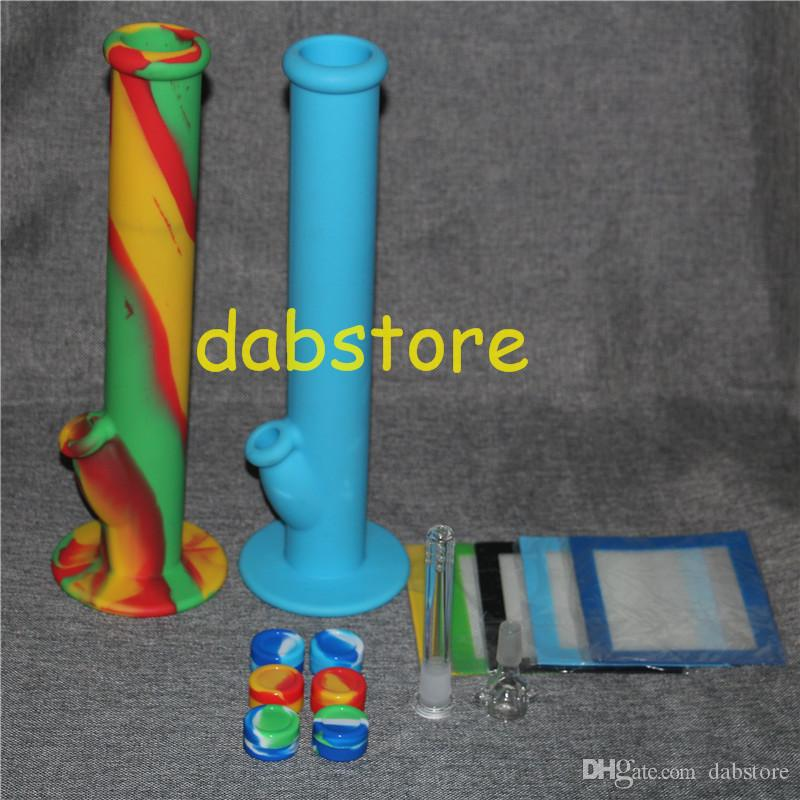 Silicone Oil Wax Dab Kit with 5.51*4.52 inch Mat Pad silicone bong and 5ml silicone wax containers