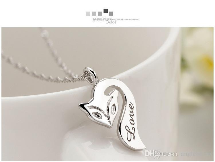 Fox Pendant Necklace 925 Sterling Silver Fire Fox Necklace Love Charm Pendant Enamel Bronze Jewelry For Women Wedding Party