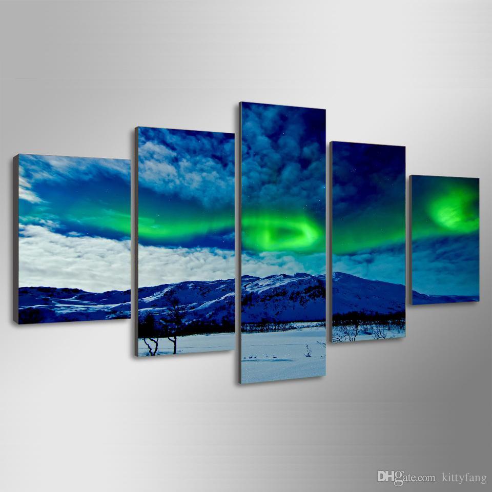 5 Adet / takım Çerçeveli HD Baskılı Işıklar Manzara Duvar Sanatı Resim Tuval Baskı Dekor Posteri Modern Tuval Yağlıboya