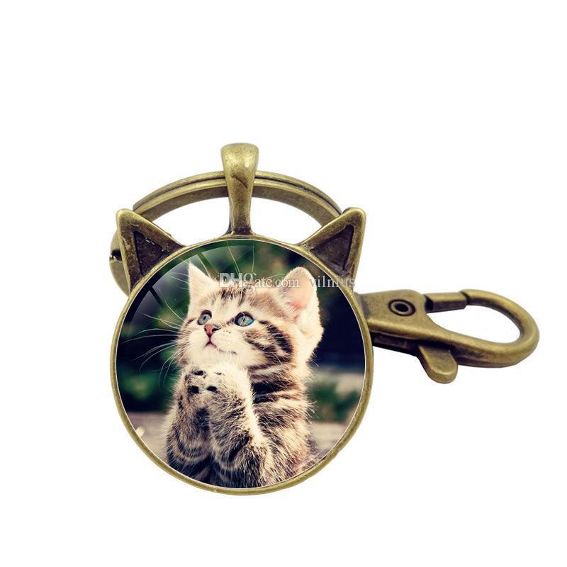 5 قطع الأزياء القطط الصلاة زجاج قبة مفتاح سلسلة قلادة العتيقة برونزية القط الأذن مجوهرات اكسسوارات خمر المفاتيح حلقة بالجملة
