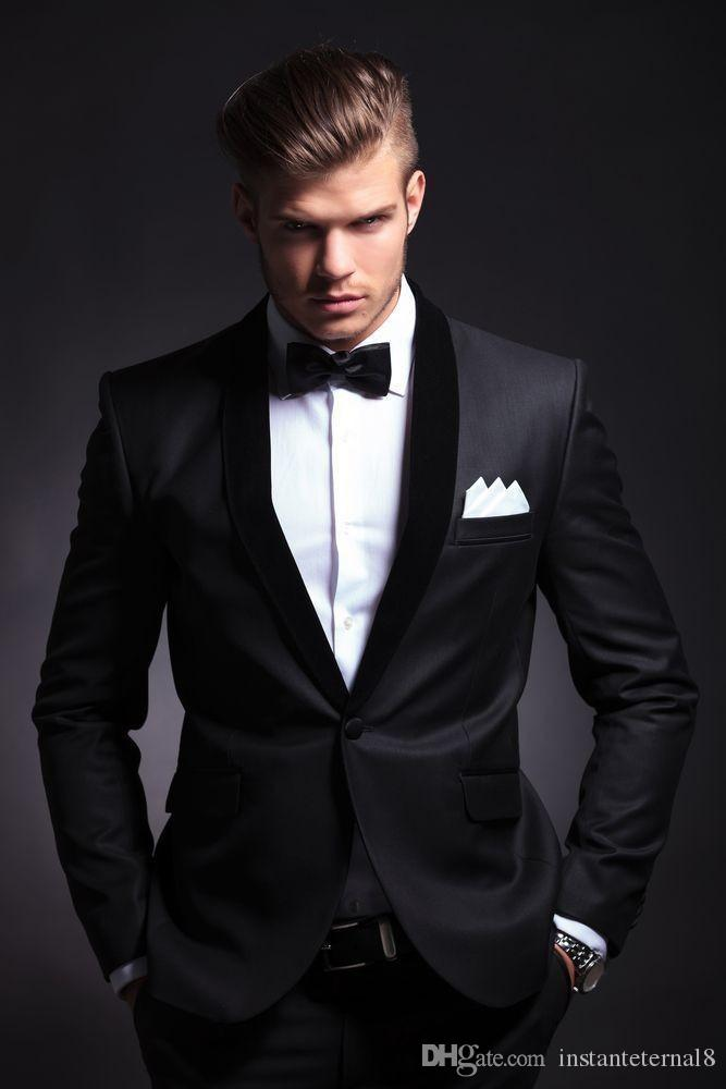 2017 Best Selling Black Mens Wedding Suits Custom Made Slim Fit ...