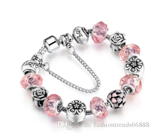 Fashion 925 Sterling Silver Murano Lampwork Glass & Crystal Love Heart European Charm Stopper Beads Safety ChainFits Pandora Charm Bracelets