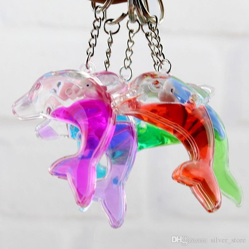 Dolphins floating bag pendant oil leak cartoon small gift creative key ring key ring aquarium gift KR349 Keychains a