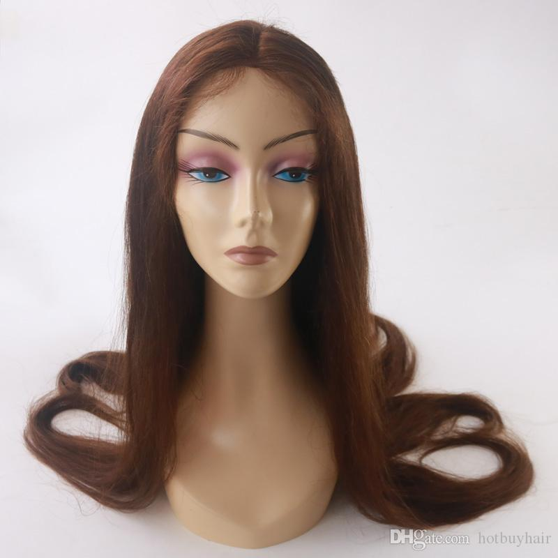 130 Density Factory Price Cheap Thick Brazilian Human Hair Wig Color 3# Skilly Straight Base Human Hair Front Lace Wigs