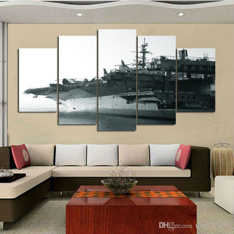 5 Panel Unframed Aircraft Carrier Paintings Part 35