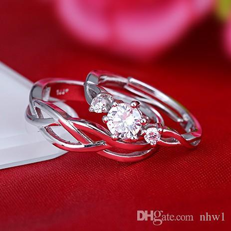 Moda Banhado A Prata Casal Anéis Para As Mulheres bijoux Novo Anel De Casamento De Cristal Jóias masculino Anéis Presentes