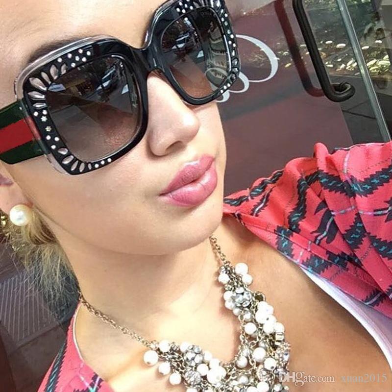 4b69811df1963 Compre Marca De Diamante Quadrado Óculos De Sol Das Mulheres Quadro Grande  Gradiente Óculos De Sol Do Sexo Feminino 2017 New Fashion Eyewear Homens  Oculos ...