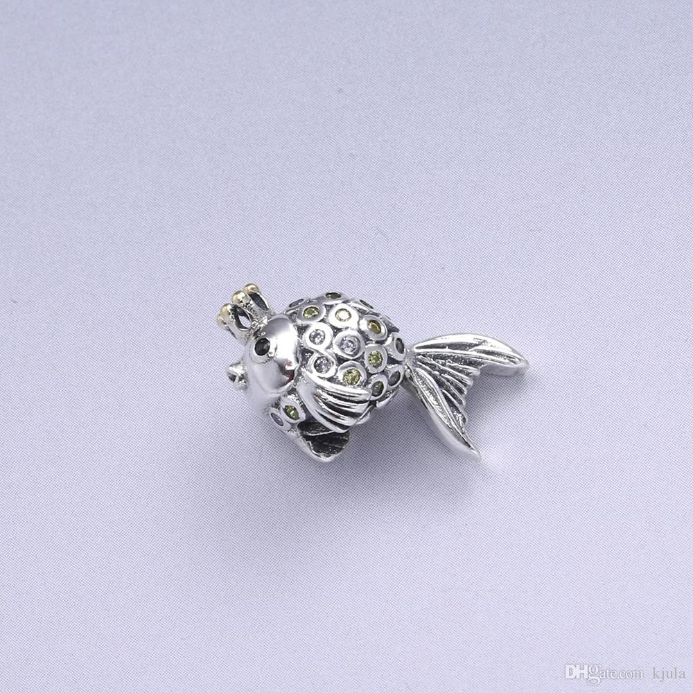 Vintage Lovey Goldfish Charms Beads Fits Snake Bracelet 925 Sterling Silver Goldfish Charms Beads For Women DIY Jewelry Marking