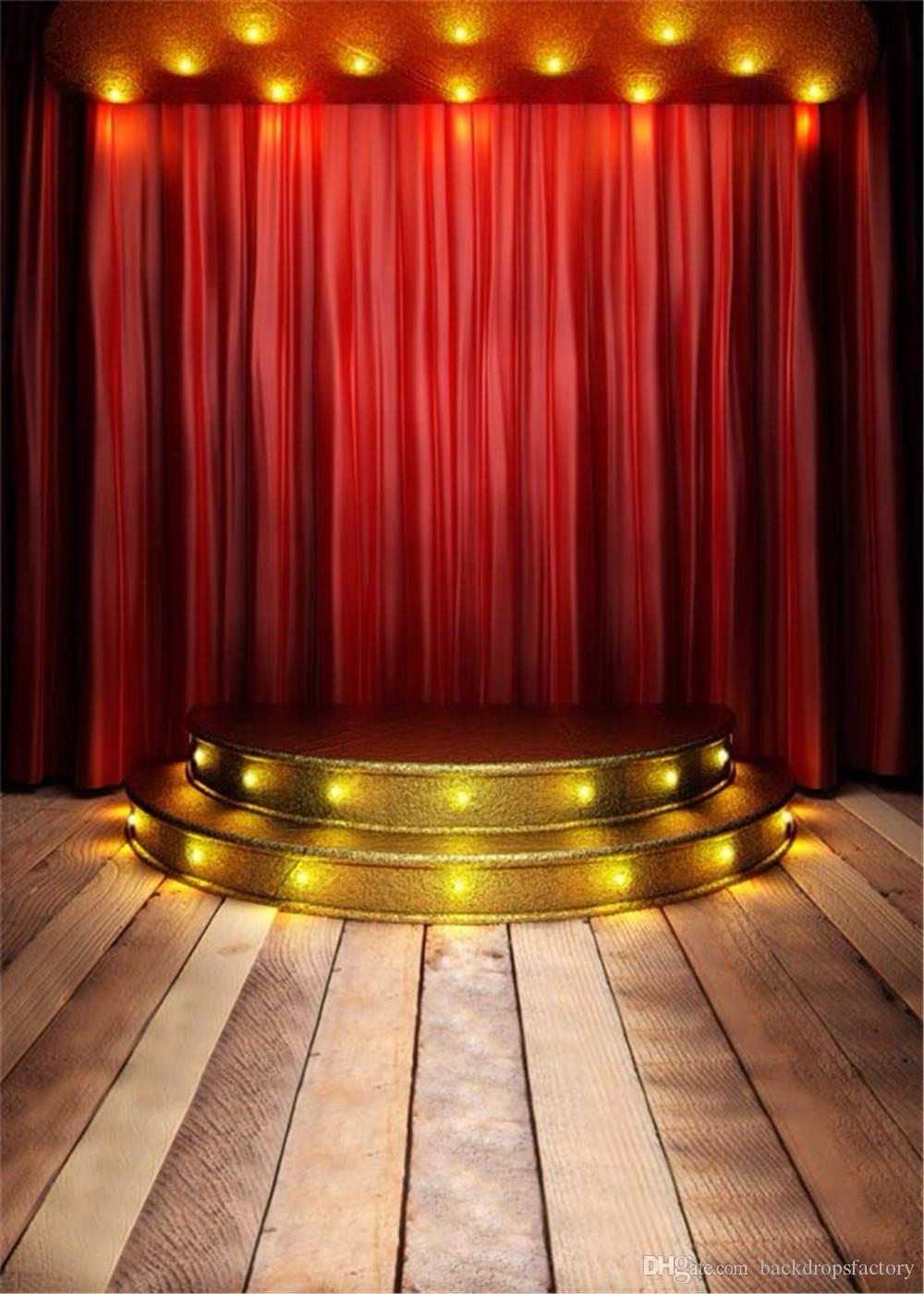 2018 Red Curtain Stage Photography Background Wood Flooring Gold Stairs With Light Children Kids Studio Photo Booth Backdrop Wedding From Backdropsfactory ... & 2018 Red Curtain Stage Photography Background Wood Flooring Gold ...