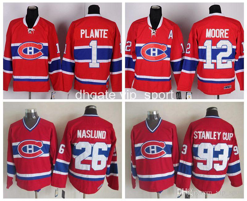 Best Montreal Canadiens Vintage Classic 26 Mats Naslund Jersey Men  Throwback 93 Stanley Cup 1 Jacques Plante 12 Dominic Moore Ccm Hockey  Jerseys Under ...