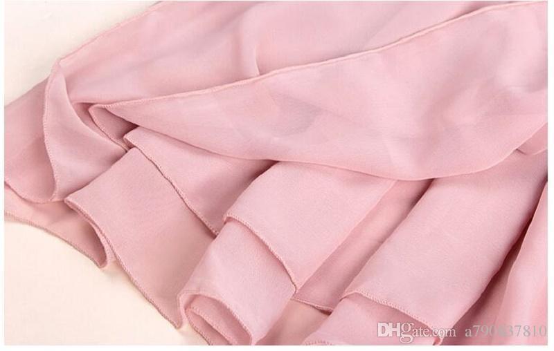 DHL livraison gratuite jupe en mousseline de soie double couche de l'Europe 2017 haute taille buste jupe plissée en gros 20 sortes de couleurs peuvent choisir NYC139