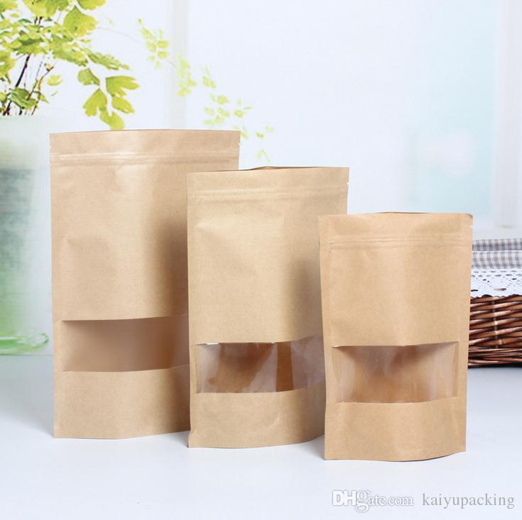 Well known Zip Lock Kraft Paper Window Bag Stand Up Gift Dried Food Fruit Tea  KO92