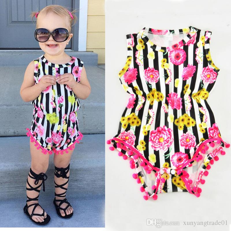 f02f6320731 2019 INS Summer Baby Romper Striped Flower Floral Printed Tassels Girl  Rompers Jumpsuits Cotton Newborn Infant Clothes Children Kids Clothing 072  From ...