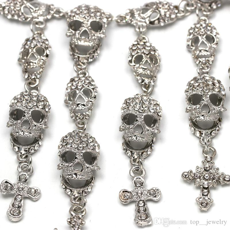 newest hot sale Fashion Necklace skeleton cross necklace punk style foreign trade jewelry explosion model for women