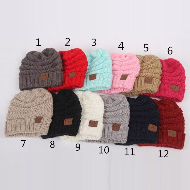 Kids Winter Warm CC Labelling Beanie Crochet Hats Wool Knit Skull ... a16450b1cac6