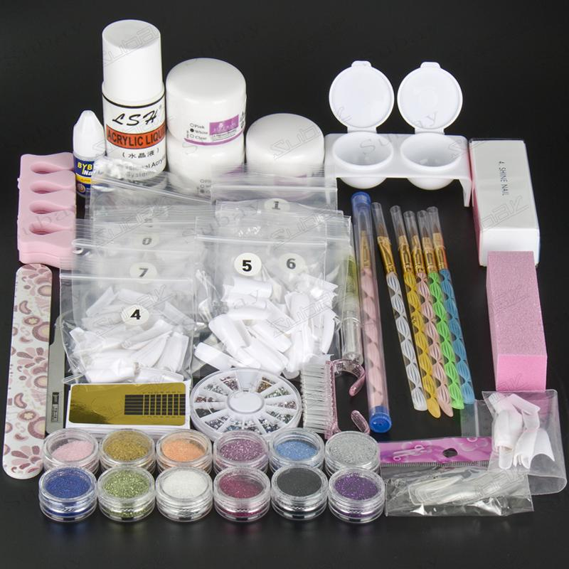 Wholesale Luxuries Acrylic Nail Art Kit Gel Powder Liquid Nail Form ...