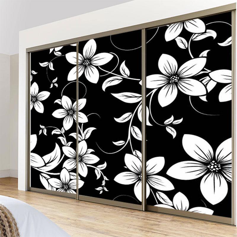 2019 60x80cm 3d black white flower patterns opaque static film