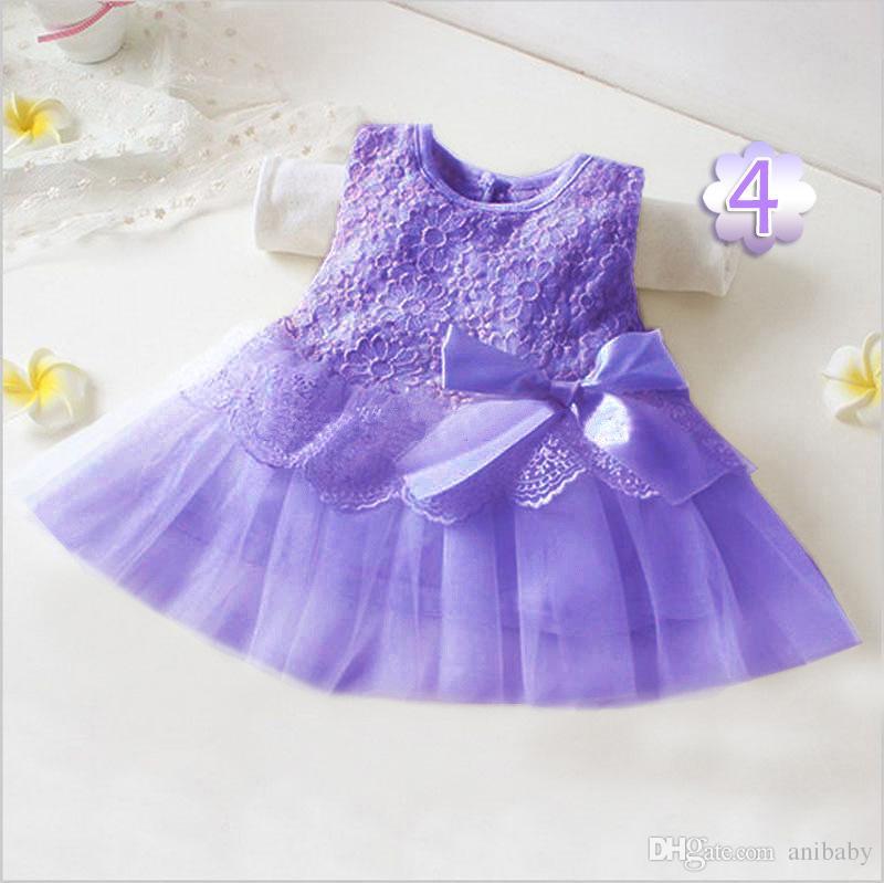 Vestito dalla prua della neonata vestito dalla principessa bambini rappezzatura del merletto vestiti senza maniche della ragazza di fiore vestito da partito scherza i vestiti di modo L003